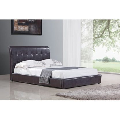 An Image of Seina Brown PU Faux Leather King Size Bed