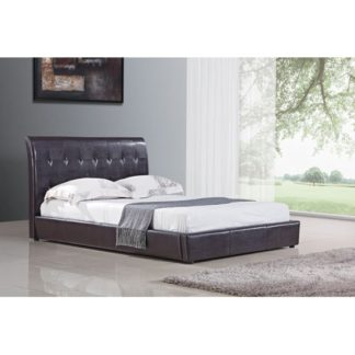 An Image of Seina Brown PU Faux Leather Double Bed