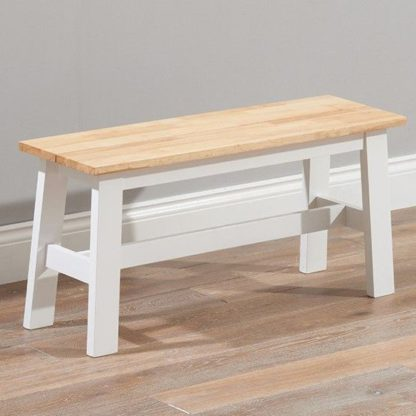 An Image of Antlia Wooden Small Dining Bench In Oak And White