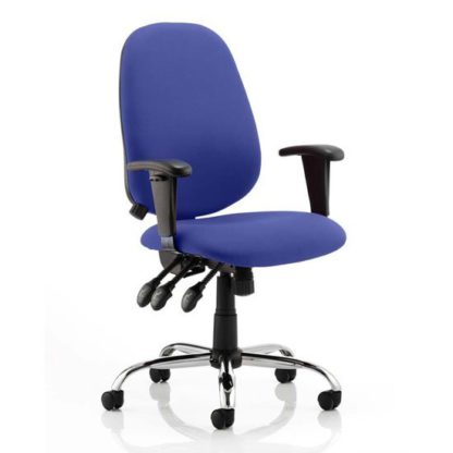 An Image of Lisbon Office Chair In Stevia Blue With Arms