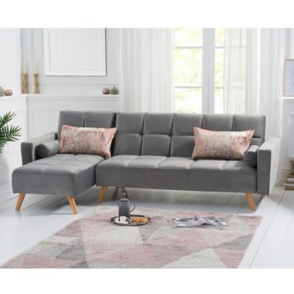 An Image of Headen Velvet Left Hand Facing Chaise In Grey With Wood Legs