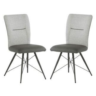 An Image of Amalfi Light Grey Fabric And Pu Leather Dining Chair In A Pair