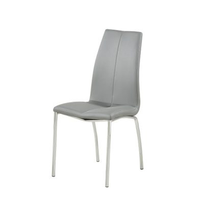 An Image of Opal Dining Chair In Grey Faux Leather With Chrome Base