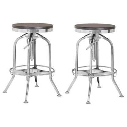 An Image of Diwo Silver Chromed Bar Stools With Ash Wood Seat In Pair
