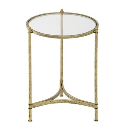 An Image of Tustin Glass Lamp Table Large In Clear With Metal Frame
