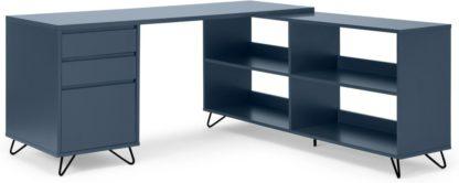 An Image of Elona Corner Desk with Open Sideboard, Slate Blue & Black
