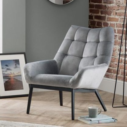 An Image of Lucerne Velvet Lounge Chaise Chair In Grey