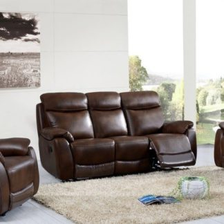 An Image of Canton Recliner 3 Seater Sofa In Tan Faux Leather