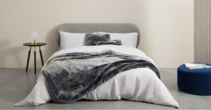 An Image of Adelphi Luxury Faux Fur Throw 130x170cm, Blue