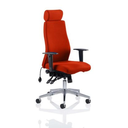 An Image of Penza Office Chair In Tobasco Red With Adjustable Arms