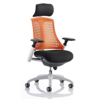 An Image of Flex Task Headrest Office Chair In White Frame With Orange Back