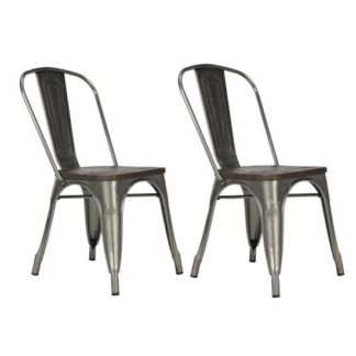 An Image of Fusion Antique Gun Metal Dining Chairs In Pair With Wood Seat