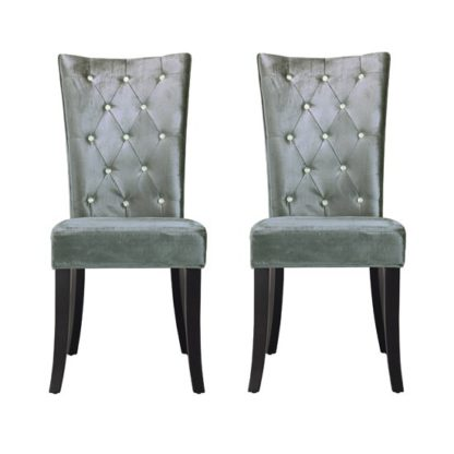 An Image of Belfast Dining Chair In Crushed Silver Velvet in A Pair