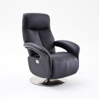 An Image of Limburg Recliner Chair In Black Leather And Stainless Steel Base