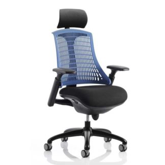 An Image of Flex Task Headrest Office Chair In Black Frame With Blue Back