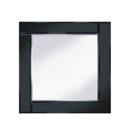 An Image of Bevelled Black 60x60 Square Wall Mirror