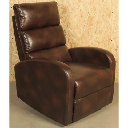 An Image of Livorno Faux Leather Recliner Chair In Brown