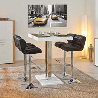 An Image of Palzo Bar Table In White High Gloss With 4 Candid Black Stools