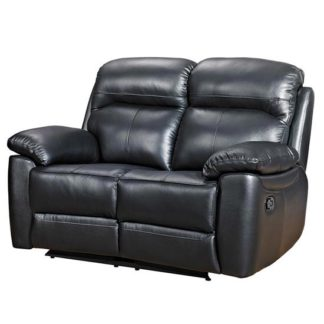 An Image of Aston Leather 2 Seater Fixed Sofa In Black