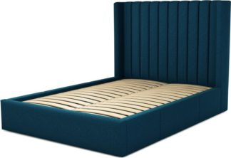 An Image of Custom MADE Cory Double size Bed with Drawers, Navy Wool