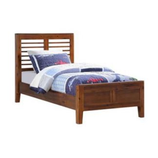 An Image of Trimble Wooden Single Bed In Rich Acacia Finish