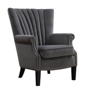 An Image of Silon Fabric Armchair In Grey Velvet And Dark Black Legs