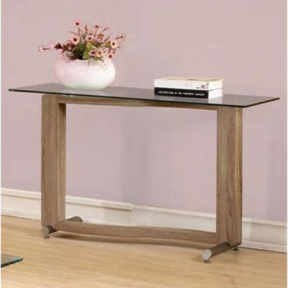 An Image of Manta Clear Glass Console Table With Walnut Base