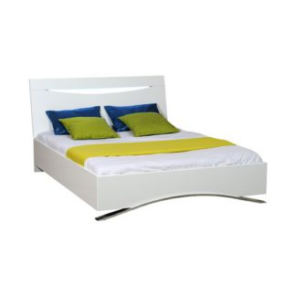 An Image of Caly Gloss White Finish Double Bed With Integrated Lighting