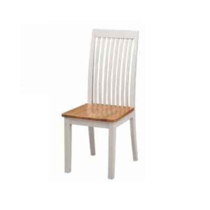 An Image of Hart Wooden Slatback Dining Chair In Stone Painted Finish