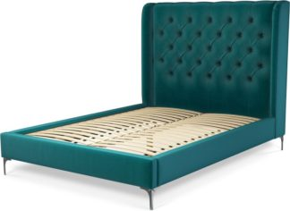 An Image of Custom MADE Romare Double Bed, Tuscan Teal Velvet with Nickel Legs