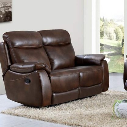 An Image of Pincoya Power Leather 2 Seater Sofa In Tan