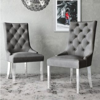 An Image of Donatello Silver Grey Velvet Fabric Dining Chairs In Pair