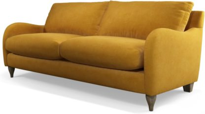 An Image of Custom MADE Sofia 3 Seater Sofa, Plush Tumeric Velvet with Light Wood Leg