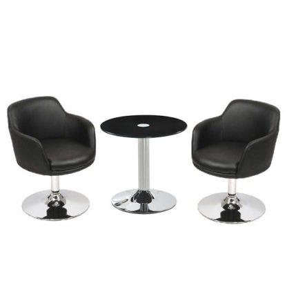 An Image of Belize Glass Bistro Table Set In Black With 2 Bucketeer Chairs