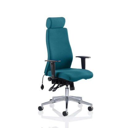 An Image of Penza Office Chair In Maringa Teal With Adjustable Arms