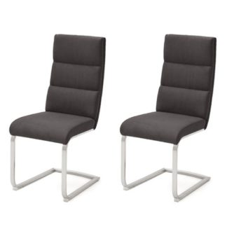 An Image of Hiulia Anthracite Leather Cantilever Dining Chair In A Pair