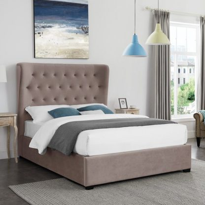An Image of Belgravia Super King Size Fabric Bed In Cappuccino