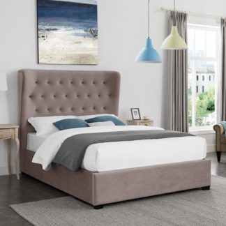 An Image of Belgravia Double Fabric Bed In Cappuccino