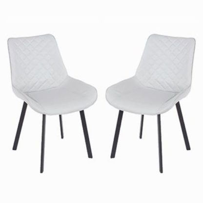 An Image of Arturo Grey PU Dining Chair In Pair With Metal Black Legs