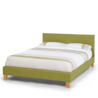 An Image of Livenza Contemporary Fabric King Bed In Olive With Wooden Legs
