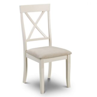An Image of Cromley Wooden Dining Chair In Ivory Laquered Finish
