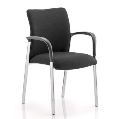An Image of Academy Fabric Back Visitor Chair In Black With Arms