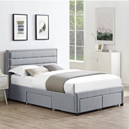An Image of Paisley Linen Fabric King Size Bed In Grey With 4 Drawers