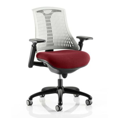 An Image of Flex Task White Back Office Chair With Ginseng Chilli Seat