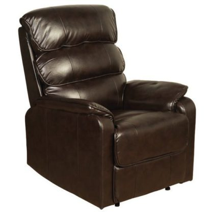 An Image of Cetia Leather Recliner Chair In Two Tone Dark Brown