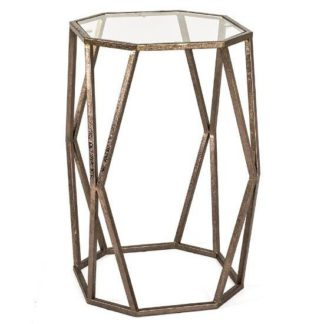 An Image of Nicole Glass Side Table In Clear With Antique Bronze Frame