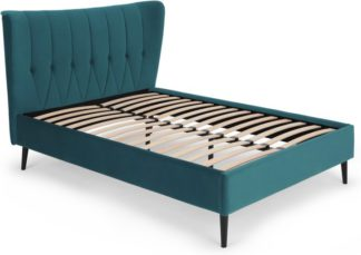 An Image of Charley Super King Size Bed, Seafoam Blue Velvet & Black Legs