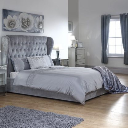 An Image of Toups Fabric Ottoman Storage Double Bed In Platinum