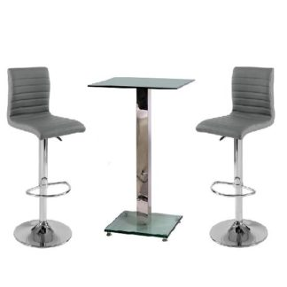 An Image of Spice Bar Table In Clear Glass With 2 Grey Ripple Bar Stools
