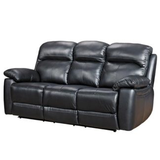 An Image of Aston Leather 3 Seater Fixed Sofa In Black